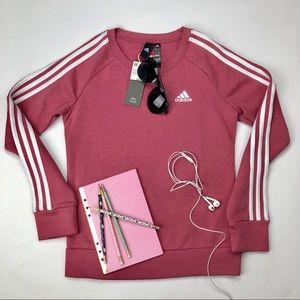 Adidas 3 Stripes Crew Sweatshirt, Dusty Rose XS